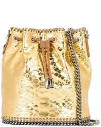 Mochila con cordón de cuero dorada