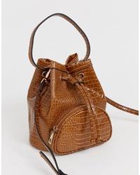 Mochila con cordón de cuero marrón de ASOS DESIGN