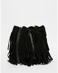 Mochila con cordón de cuero negra de Mango