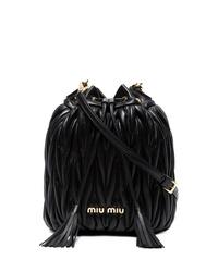Mochila con cordón de cuero negra de Miu Miu