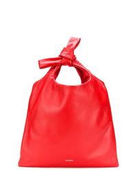 Mochila con cordón de cuero roja de Jil Sander