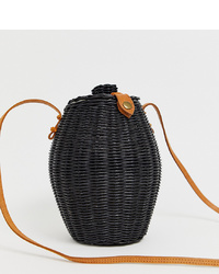 Mochila con cordón de paja negra de Ellen & James
