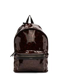 Mochila de cuero estampada en marrón oscuro de Saint Laurent