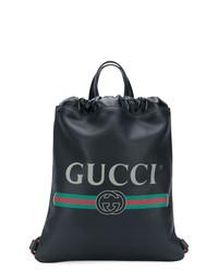 Mochila de cuero estampada negra de Gucci