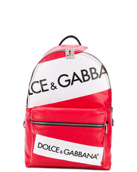 Mochila de cuero estampada roja de Dolce & Gabbana