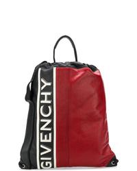 Mochila de cuero estampada roja de Givenchy
