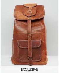 Mochila de cuero marrón de Reclaimed Vintage