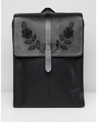 Mochila de cuero negra de ASOS Edition