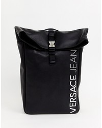 Mochila de cuero negra de Versace Jeans
