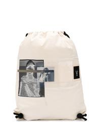 Mochila de lona estampada blanca de Rick Owens DRKSHDW