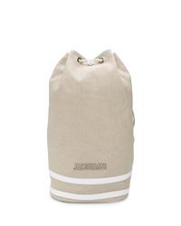 Mochila de lona marrón claro de Jacquemus