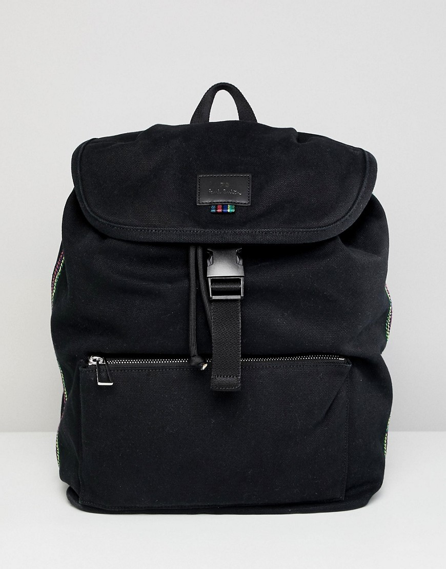 Mochila de lona negra de PS Paul Smith