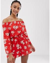 Mono corto con print de flores rojo de New Look