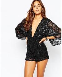 80489c894e8 Comprar un mono corto de lentejuelas negro Motel | Moda para Mujeres ...