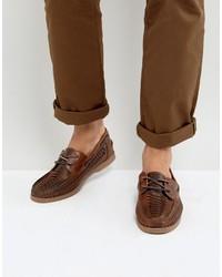 Náuticos de cuero marrónes de Asos