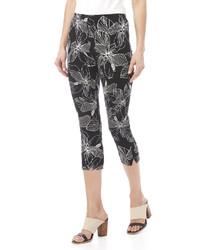 Pantalón capri con print de flores negro