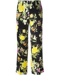 Pantalón capri con print de flores negro de Etro