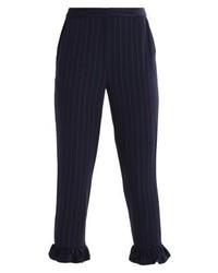 Pantalón capri de rayas verticales azul marino de YAS