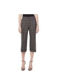 Pantalón capri de tartán en gris oscuro