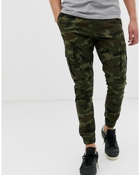 Pantalón cargo de camuflaje verde oliva de Solid