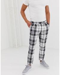 Pantalón chino a cuadros en blanco y negro de ASOS DESIGN