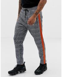 Pantalón chino a cuadros en gris oscuro de Liquor N Poker