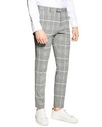 Pantalón chino a cuadros gris