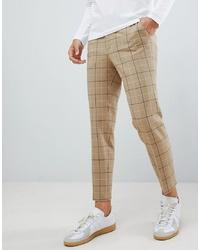 Pantalón chino a cuadros marrón claro
