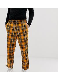 Pantalón chino a cuadros naranja de Collusion