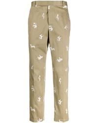 Pantalón chino bordado marrón claro de Thom Browne