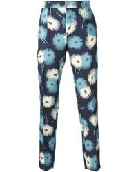 Pantalón chino con print de flores azul marino