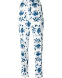 Pantalón chino con print de flores blanco de Alexander McQueen