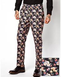 Pantalón chino con print de flores negro de Asos