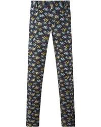 Pantalón chino con print de flores negro de Etro