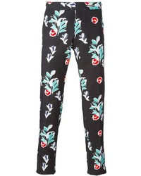 Pantalón chino con print de flores negro de Thom Browne