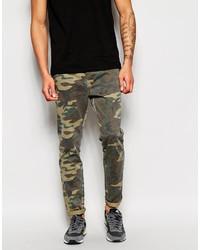Pantalón Chino de Camuflaje Verde Oscuro de Asos