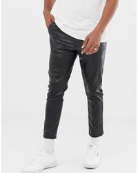 Pantalón chino de cuero negro de ASOS DESIGN