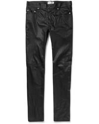 Pantalón Chino de Cuero Negro de Saint Laurent