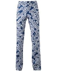 Pantalón Chino de Flores Blanco y Azul