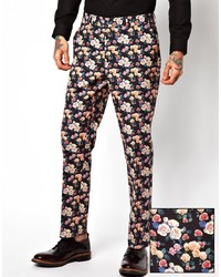 Pantalón Chino de Flores Negro de Asos
