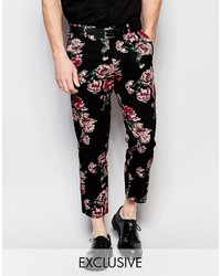 Pantalón Chino de Flores Negro de Reclaimed Vintage