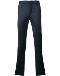 Pantalón chino de lana a cuadros azul marino de Dondup