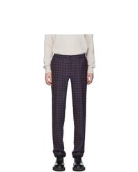 Pantalón chino de lana a cuadros azul marino de Etro