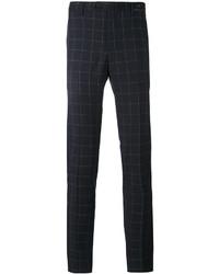 Pantalón chino de lana a cuadros azul marino de Pt01