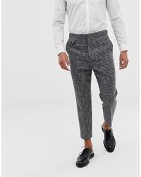Pantalón chino de lana a cuadros en gris oscuro de ASOS DESIGN
