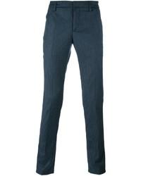 Pantalón chino de lana a cuadros en verde azulado de Dondup