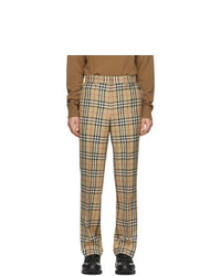 Pantalón chino de lana a cuadros marrón claro de Burberry