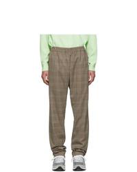 Pantalón chino de lana a cuadros marrón de Tibi