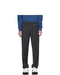Pantalón chino de lana de rayas verticales azul marino de Tibi
