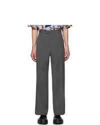 Pantalón chino de lana de rayas verticales en gris oscuro de Prada